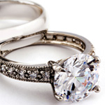 Wedding jewelry such as wedding bands, engagement rings, and other fine jewelry.